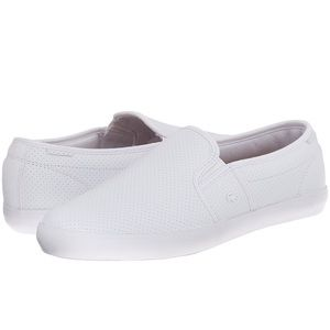 NIB Lacoste White Slip-On Leather Sneaker